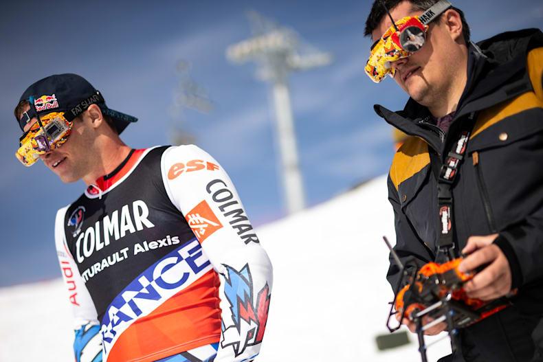 Ski Alexis Pinturault And Drone On Giant Slalom Piste
