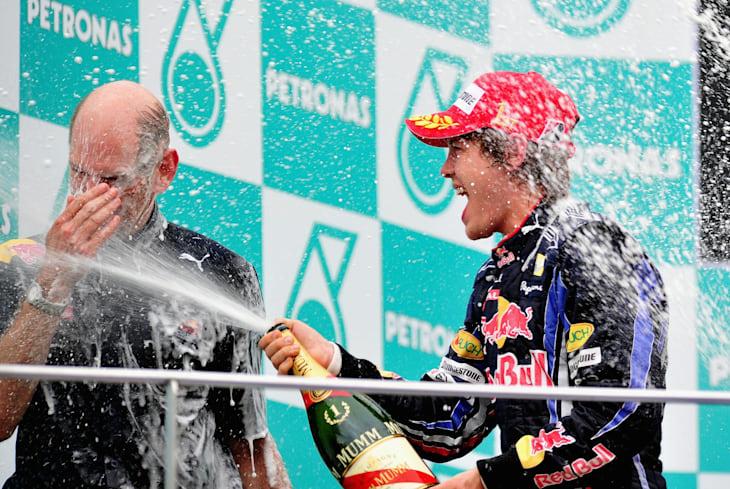 Adrian Newey e Sebastian Vettel no GP da Malásia em 2010
