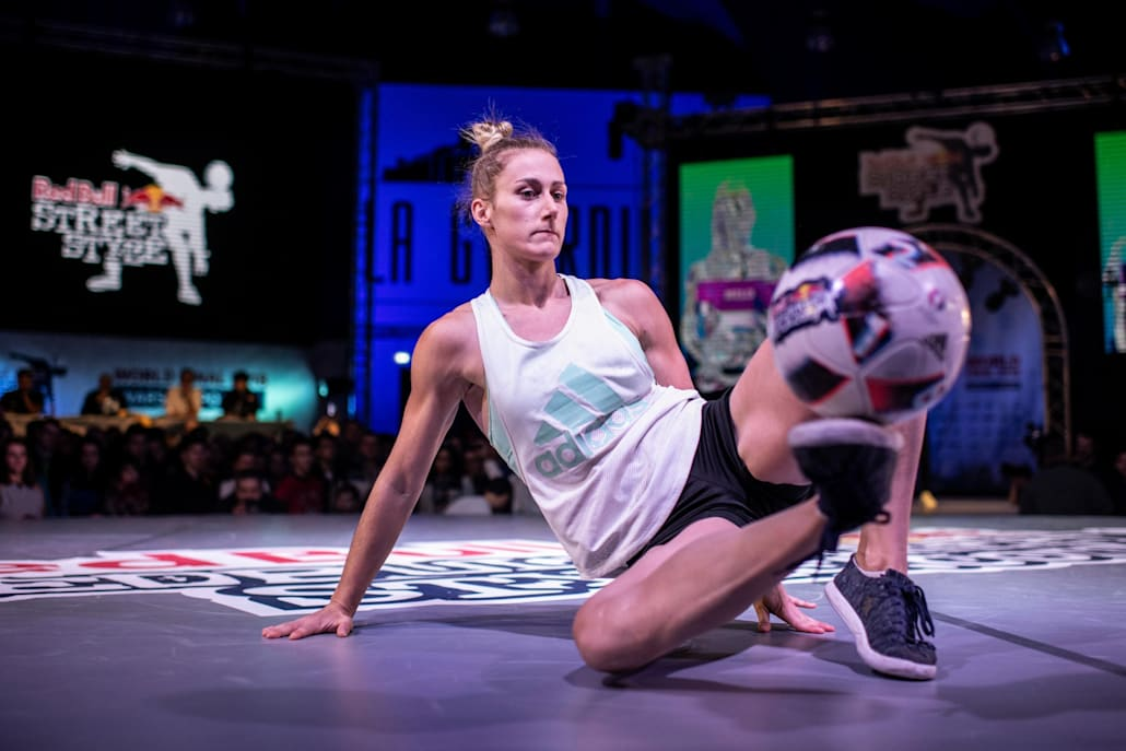 An image of freestyle soccer player Melody Donchet at Red Bull Street Style.