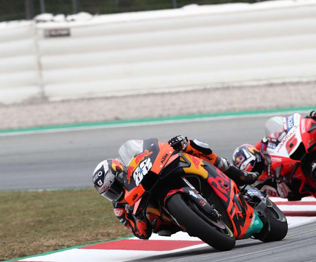 KTM's Miguel Oliveira leads Ducati's Johann Zarco in Catalunya