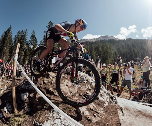 Kate Courtney at the UCI MTB XC World Champs 2018