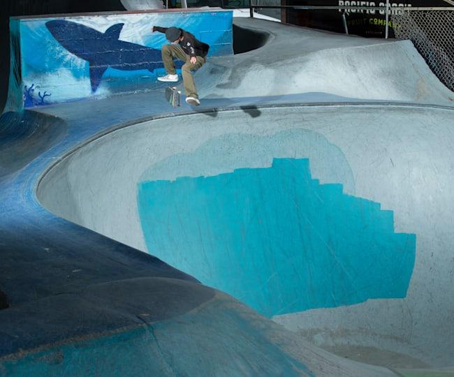 CJ Collins kickflips into the big bowl