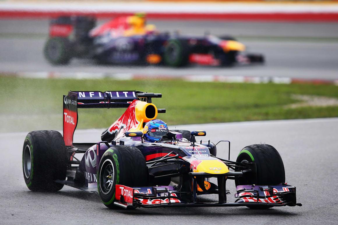 Una imagen de Sebastian Vettel y Mark Webber en el Gran Premio de Malasia de F1 2013 en el circuito de Sepang en Kuala Lumpur.