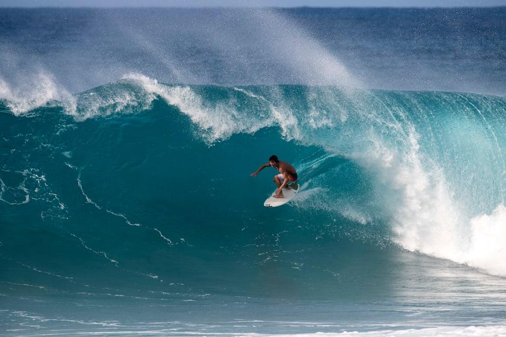 Jack Robinson surfs in Haleiwa, Hawaii, USA on December 3, 2016.