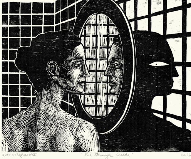The Stranger Inside - xilogravură, 2018