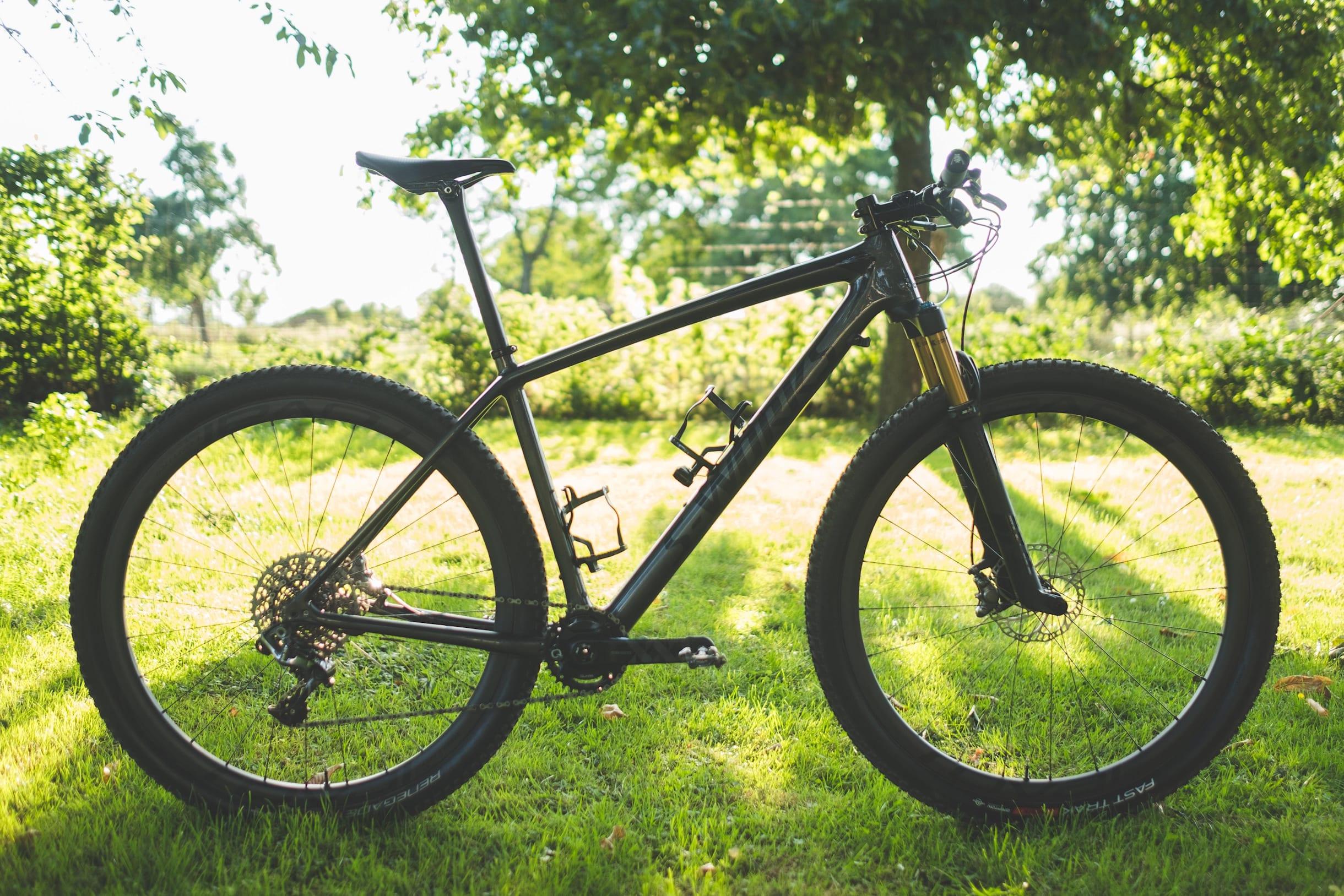 Una bici hardtail con un fondo verde