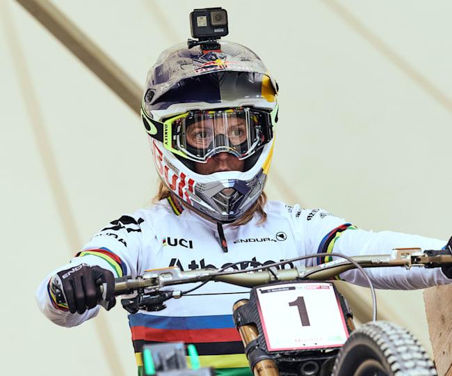 Rachel Atherton prête à prendre le départ de la course de Maribor
