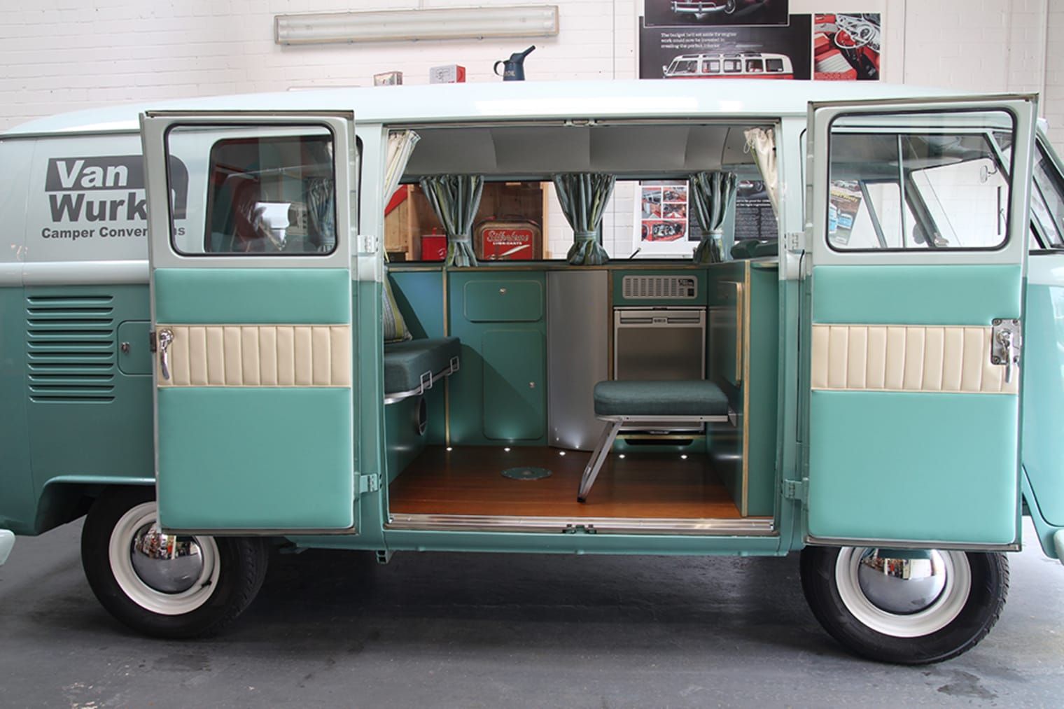 A 1964 VW Type 1 with a birch plywood and eggshell finish