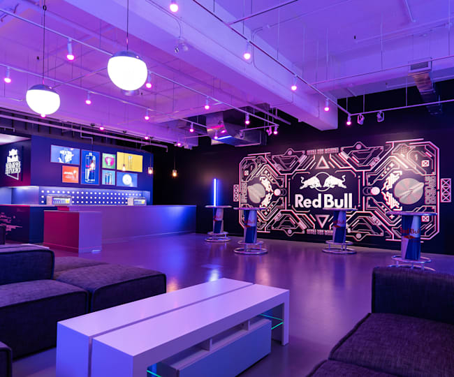 You're hanging out in the Red Bull Gaming Studio lounge area