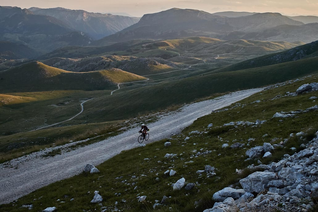 James Hayden rides during the 2018 Transcontinental race in Bjelašnica, Bosnia and Herzegovina.