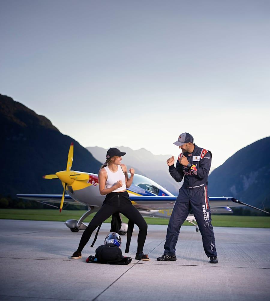 Maja Kuczyńska i Łukasz Czepiela na planie Red Bull Game of A.I.R. w Bovec w Słowenii w 2020 roku