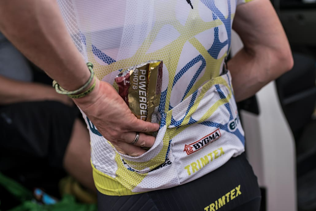 Food in a cyclists jersey during the 11th stage Ulan-Ude-Chita at the Red Bull Trans-Siberian Extreme race in Russia on August 3, 2017