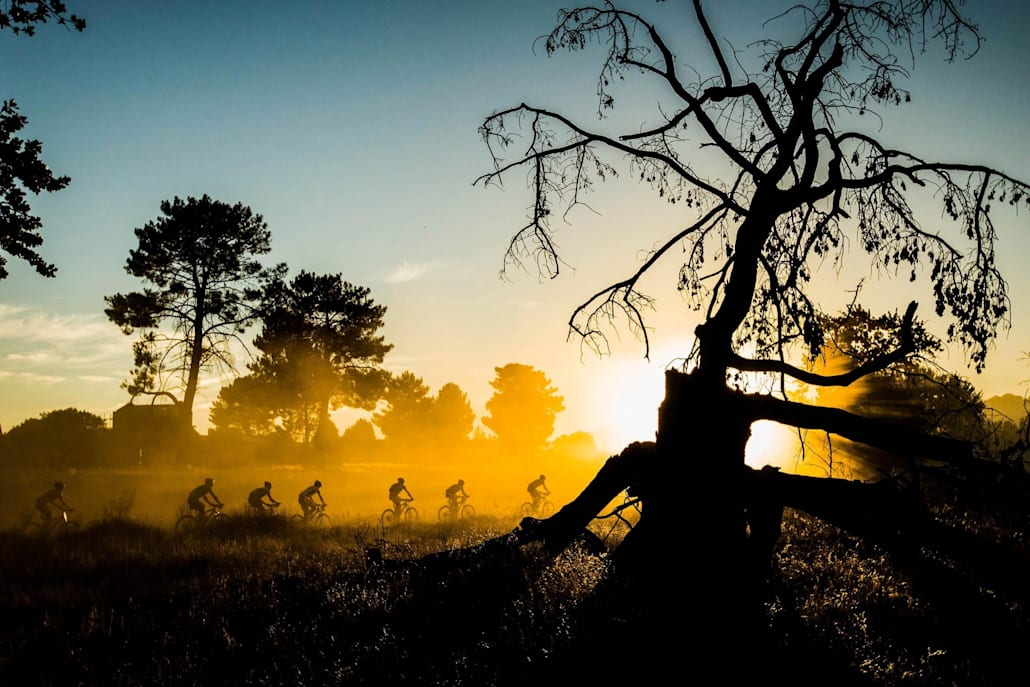 Riders in early morning light at the Absa Cape Epic Mountain Bike stage race