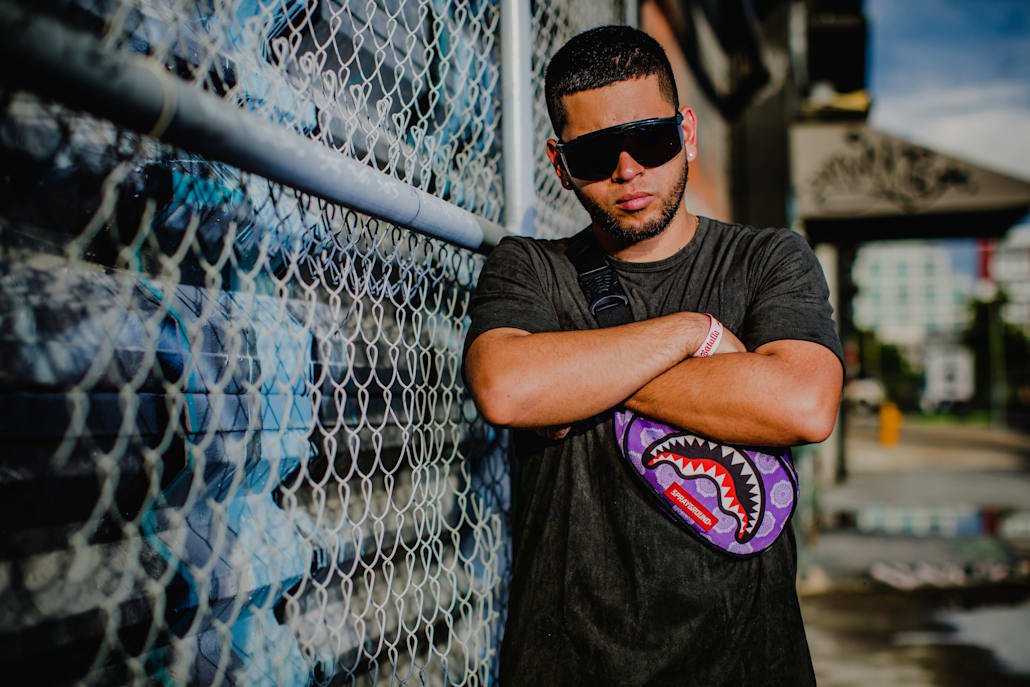 William Manzano Serrano, aka Yartzi, poses for a portrait during Red Bull Batalla de los Gallos US Finals at Wynwood Factory in Miami, Florida.