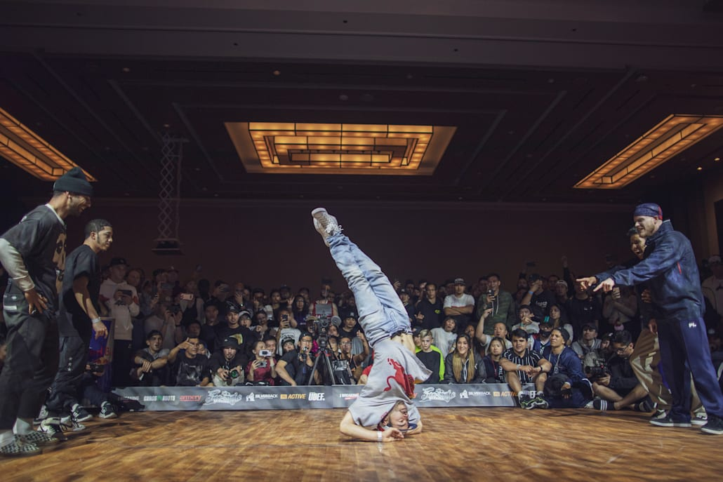 Lil G on the dancefloor in the battle of the Red Bull BC One All Starts vs the Squadron at Freestyle Session 2019