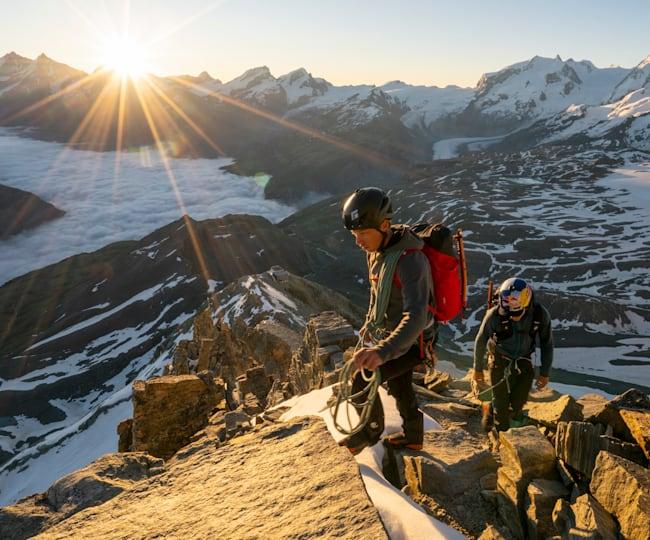 Jérémie Heitz und Sam Anthamatten auf dem Weg zum Matterhorn