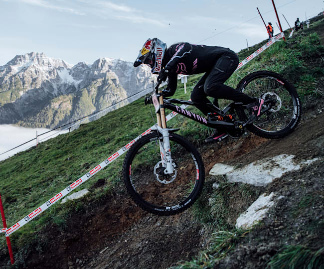 Tahnee Seagrave 2020 bei der Downhill-WM in Leogang.