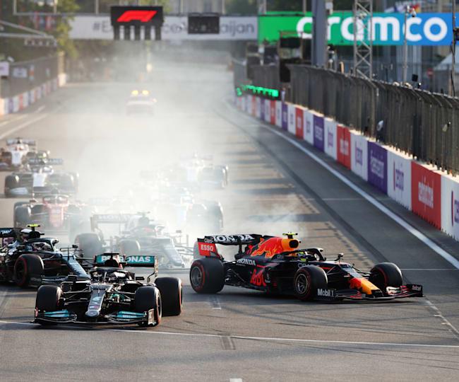 Hamilton finisce lungo alla ripartenza del GP dell'Azerbaijan