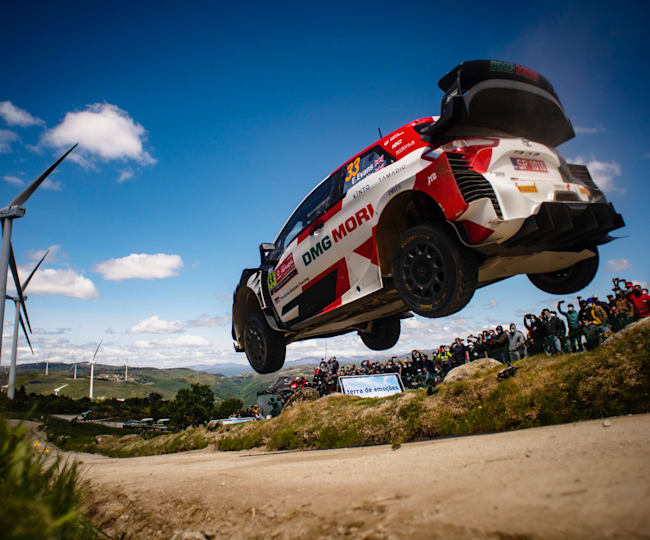 Elfyn Evans sent it big to win his first WRC of the season in Portugal