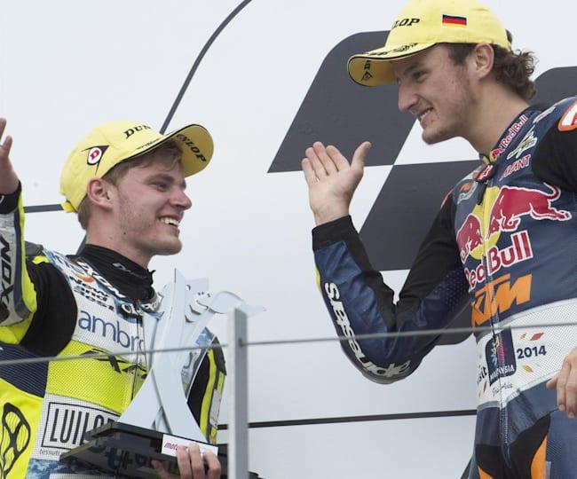 Brad Binder and Jack Miller on the Moto3 podium