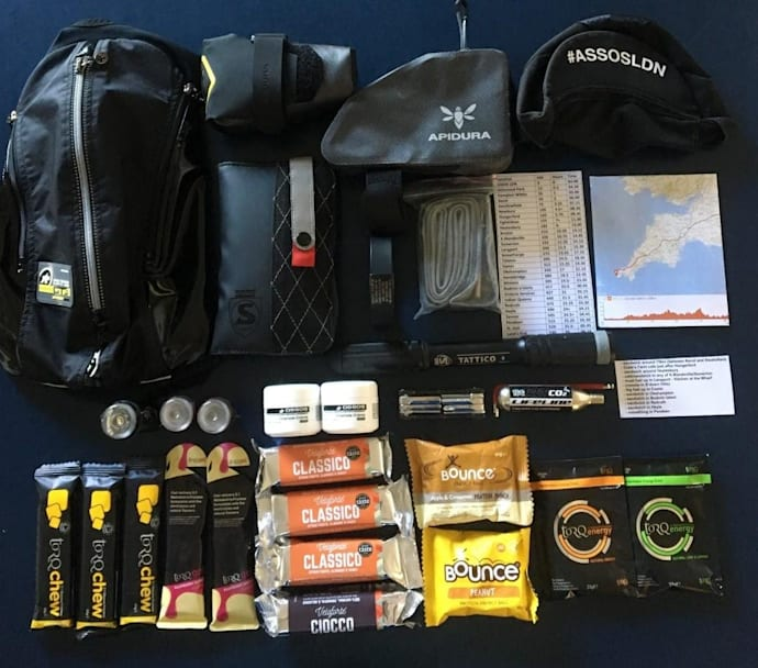The typical kit carried by Guy Litespeed on an Everesting attempt.