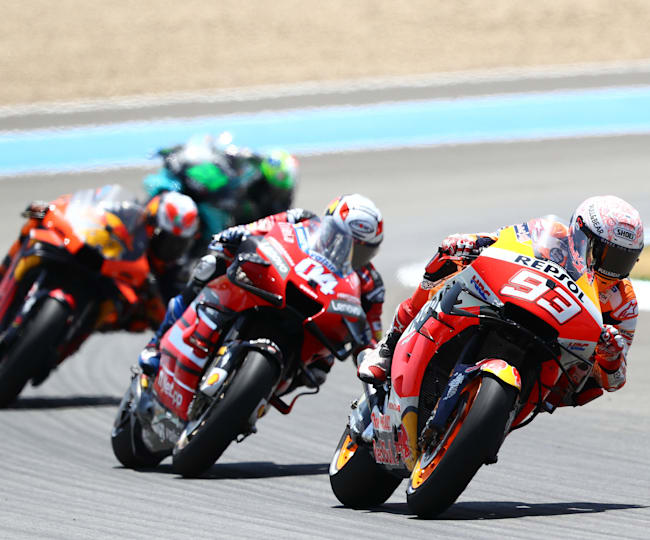 Reigning champ Marc Márquez crashed out heavily from a podium position