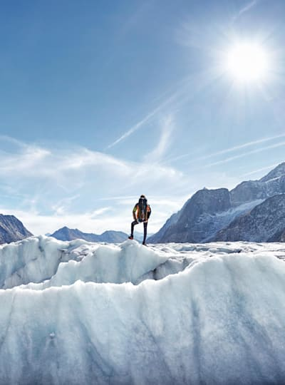Hiker on Aletsch Glacier, Switzerland