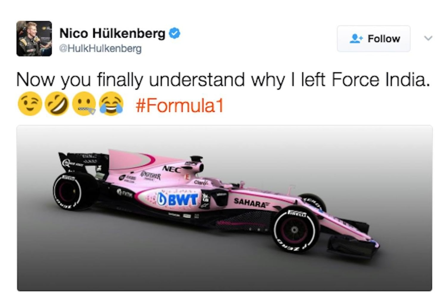 Nico Hulkenberg Insults Pink Force India Livery