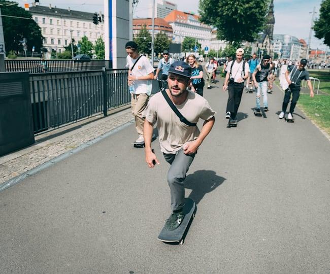 Vladik Scholz is seen at Go Skateboarding Day
