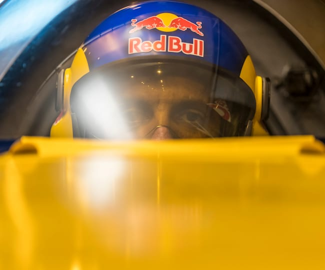 Italy's Dario Costa concentrates ahead of his Tunnel Pass flight