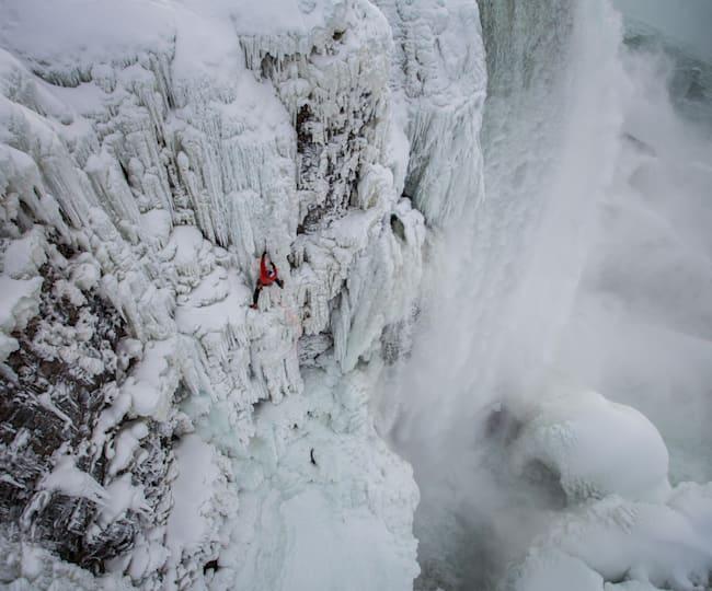 Will navigates sketchy ice on Niagara Falls