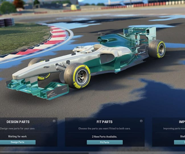 Motorsport Manager's vehicle setup screen