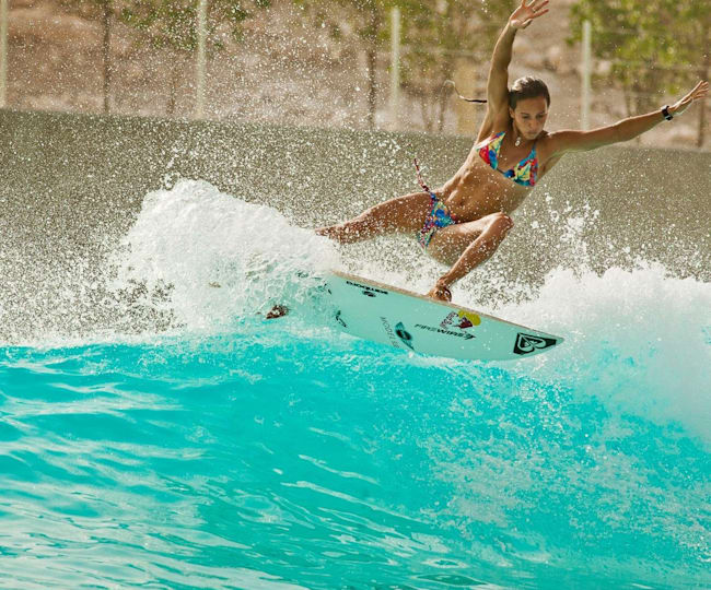 Sally Fitzgibbons Surfs at the Wadi Adventure Wave Pool