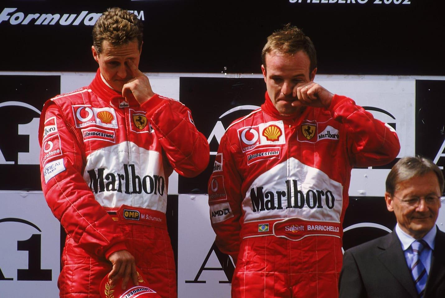Les pilotes Michael Schumacher et Rubens Barrichello au Grand Prix d'Autriche de Formule 1 2002.