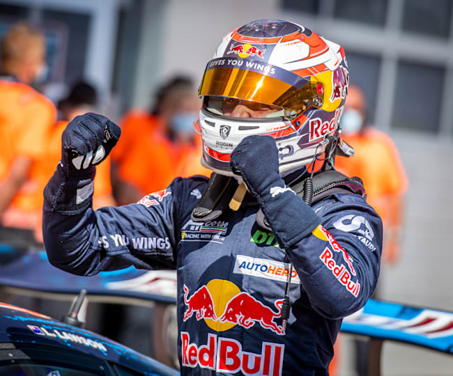 At the double: Liam Lawson celebrates his two DTM wins at the Red Bull Ring