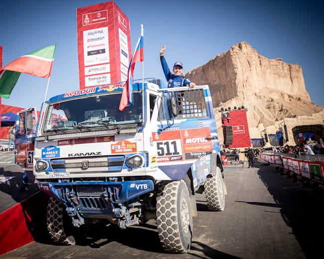 Andrey Karginov celebrates winning the 2020 Dakar Rally with KAMAZ