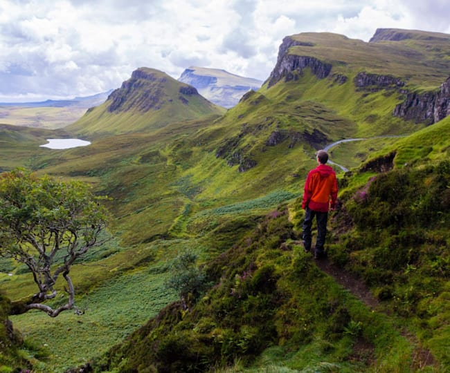 A view over the high cliffs around the Quiraing, Isle of Skye