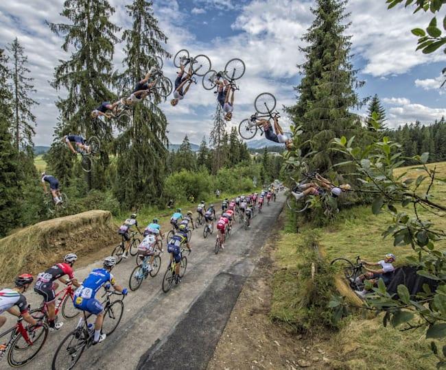 Szymon Godziek backflips over the Tour of Poland