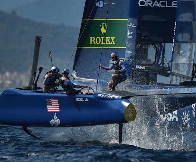 Jimmy Spithill at the helm of the USA SailGP Team