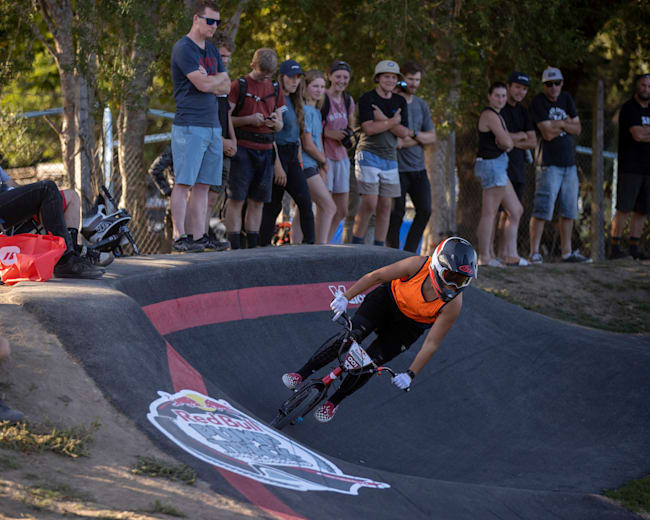 Jessie Smith performs during the Red Bull UCI Pump Track 2020