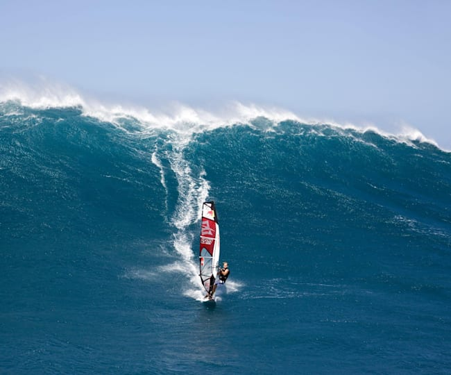 Robby Naish doing what he does best, slaying huge waves