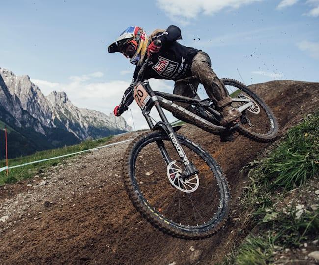 Vali Höll rides at Leogang during downhill practice