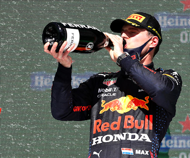 Verstappen shared the podium with Hamilton and Bottas once more