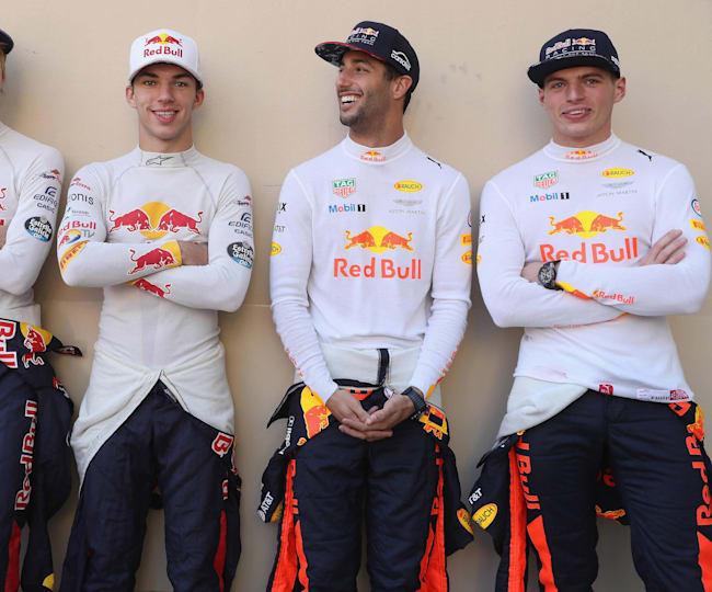 Daniel Ricciardo, Pierre Gasly, Brendon Hartley en Max Verstappen
