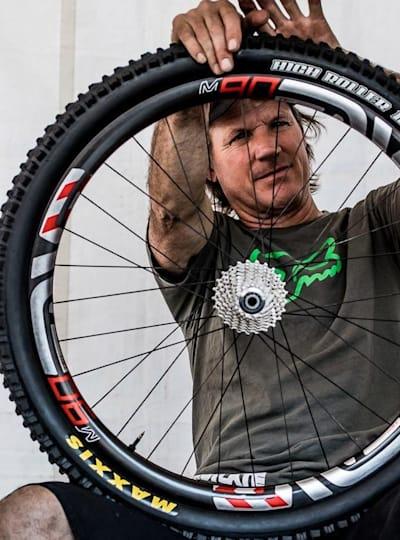 Doug Hatfield getting Josh Bryceland's bike ready
