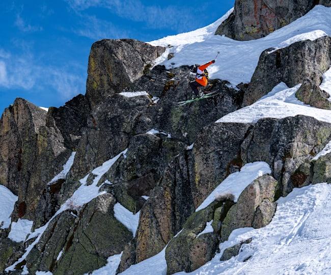 Ryan Faye skis at Red Bull Raid, Squaw Valley Mountain Resort in Lake Tahoe