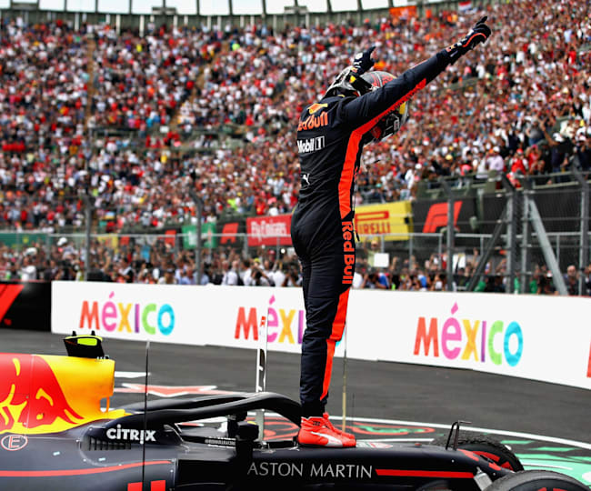 Max Verstappen celebrates his win in Mexico