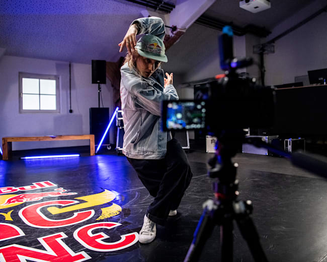 Kastet performs in front of camera to promote the Red Bull BC One E-Battle