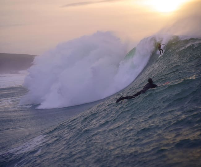Conor Maguire, eyeing up the elevator drop at Mullaghmore