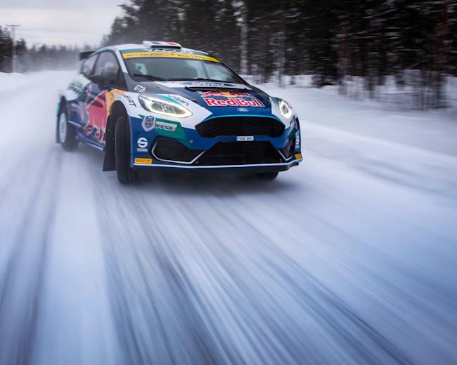 Adrien Fourmaux takes to the snowy roads around Rovaniemi